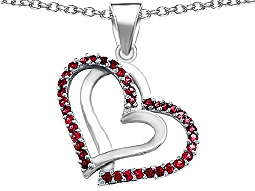 Star K Sterling Silver Double Hearts Pendant Necklace