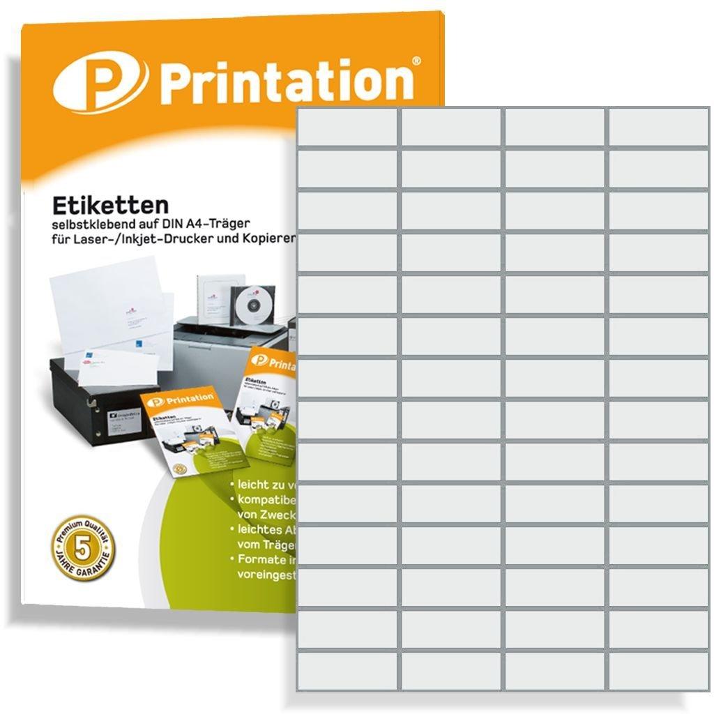 Universal Etichette 52, 5x 21, 2mm bianco autoadesivo stampabile–5600pezzi su 100fogli DIN A4à 4x 1452, 5x 21, 2Labels–3668427350535080LA110 Printation