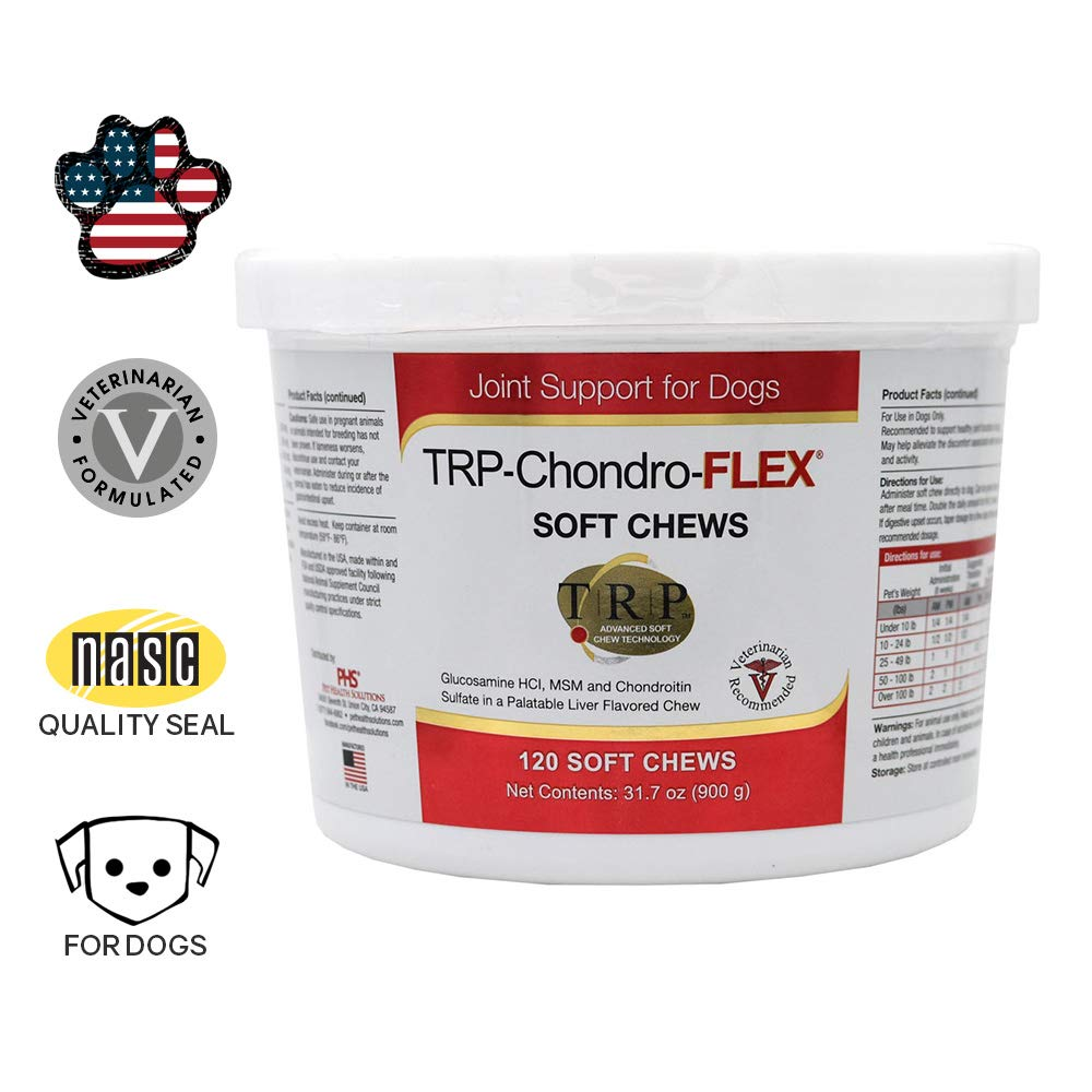 Healthy Pets PHS TRP-Chondro-Flex Joint Support Supplement for Dogs - Glucosamine, MSM, Chondroitin - Hip and Joint Pain Relief and Support - Made in USA - 120 Soft Chews