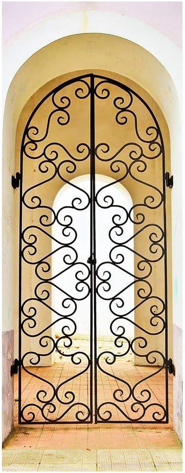 YQZYMT® Etiqueta de puerta 3D Carteles Pegatina Mural de arte Arco vintage de hierro forjado 88X200CM murales Mural de la puerta del cartel de la puerta Adhesivo para puerta calcomanías artísticas dec