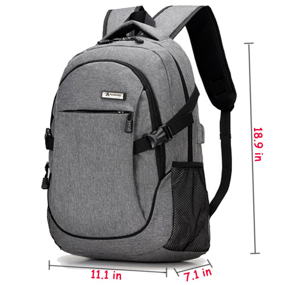 Trustbag X-20 Laptop Backpack with USB Charging Port Business Water Resistant Polyester and Notebook, Grey