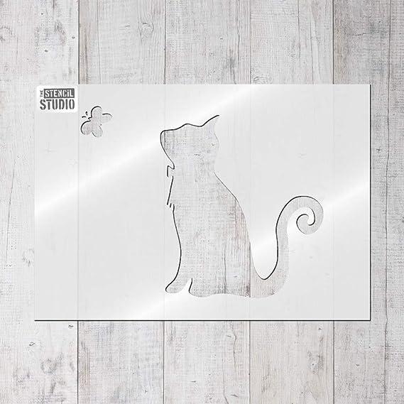 La plantilla para estarcir Studio Ltd – gato y mariposa plantilla – reutilizable plantilla, S/A4 - A x B 20.9 x 16.5cm (8.2 x 6.5 inches): Amazon.es: Hogar