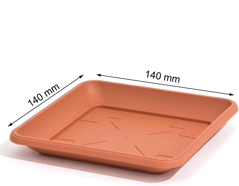 Terra-Cotta color plástico plato Terra cuadrado 14 cm soporte para ...