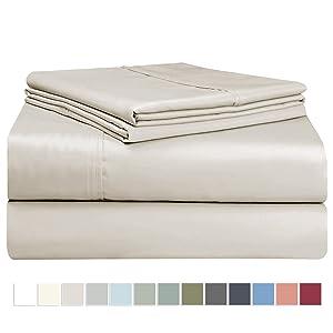 "Pizuna 400 Thread Count Cotton Beige California King Sheet Set, 100% Long Staple Cotton Cal King Sheets, Soft Sateen Bed Sheets, Deep Pocket fit Upto 17"" (Tan Cal King Sheets Set)"