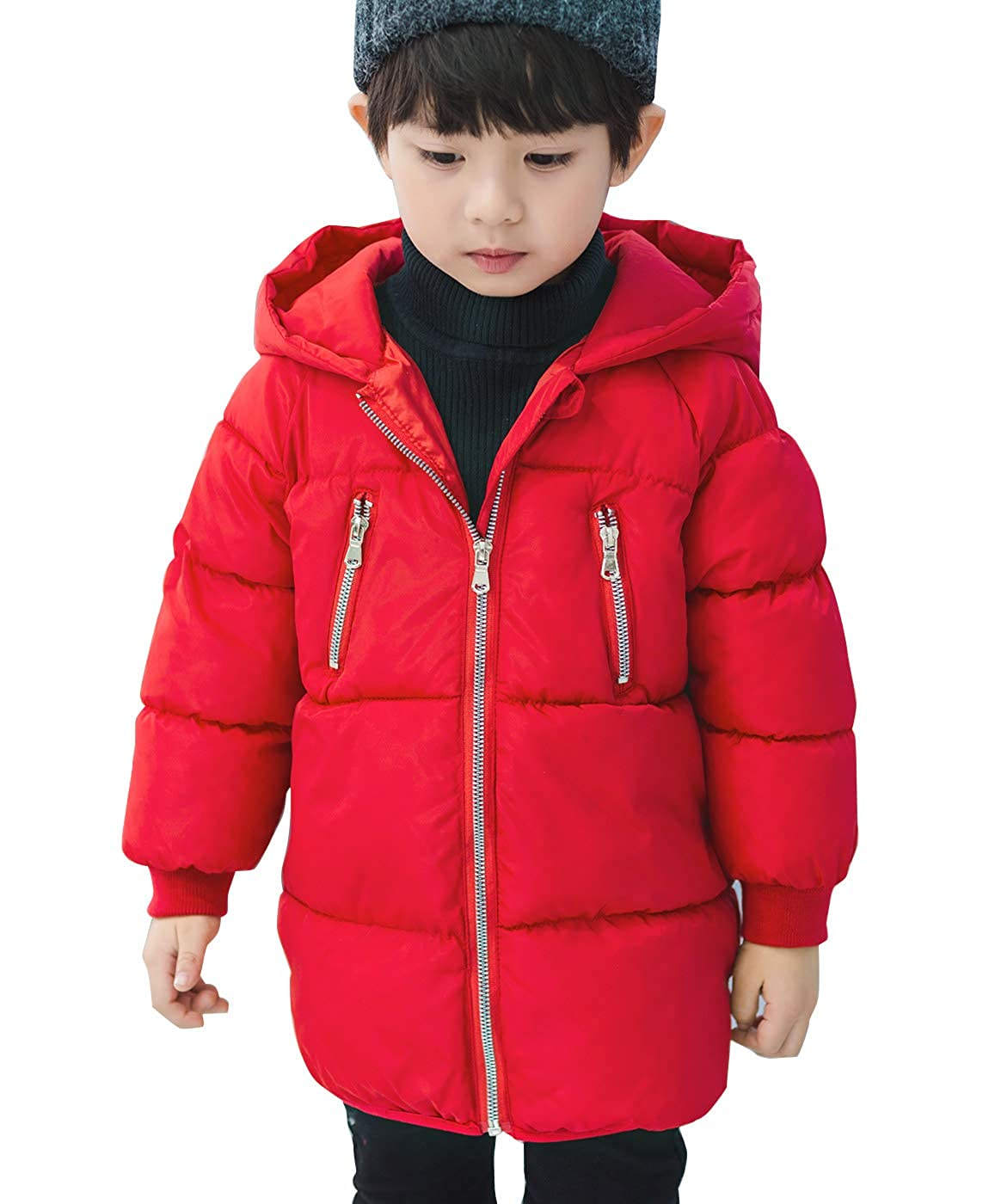 Happy Cherry Little Boys Girls Puffer Thick Snowsuit Outwear Hooded Warm Parka Winter Coat Zip Up Solid Color Quilted Jacket