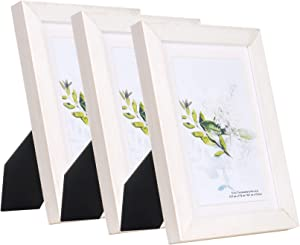 KAIWIN 100% Solid Wood Minimalist White 5x7 Picture Frame 3 Pack - Display Picture 4x6 with Mat, HD Glass Inside, Rustic Wooden Photo Frames for Table Top and Wall Mounting
