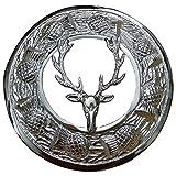 AAR Men,s Scottish Stag Head Kilt Brooch Fly Plaid Chrome Finish 3'' (7cm) diameter T