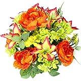 admirado por Nature 24tallos artificiales completo Blooming lirio de tigre, peonía y hortensia con follaje verde mixto arbusto de flores para el día de la madre o decoración para el hogar, restaurante, oficina y boda, naranja (YW/Orange/Velvet/Kiwi), 1