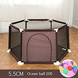 WSSF- Summer Deluxe Infant Play Playpens Kids Safety Fences Baby Crawling Mat Learning Walking Fence Portable Indoor Toddler Play Pens Area Playground Railing (Color : Brown, Size : 15066.5cm)