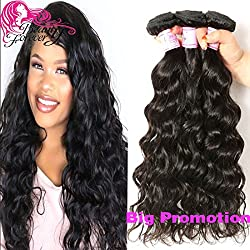Beauty Forever Hair Brazilian Natural Water Wave Virgin Hair Weave 3 Bundles 100% Unprocessed Human Hair Extensions Natural Color 95-100g/pc (8 10 12)