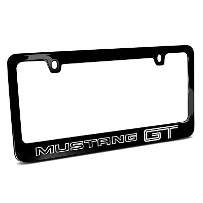 YING XUE Ford Mustang GT Outline Black Metal License Plate Frame: Automotive