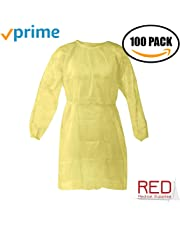 Isolation Gowns by PriMed, Overhead Fluid Resistant, Elastic Cuffs, AAMI Level 2 Gown, (100/Pack (100 Yellow Gowns)
