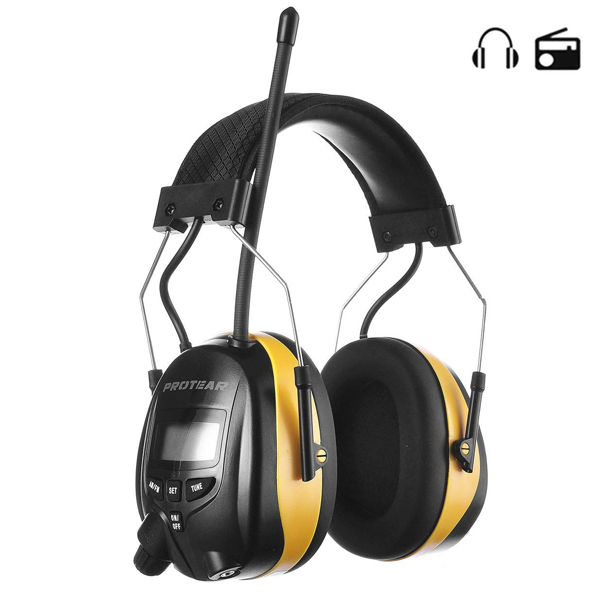 PROTEAR Digital AM FM Radio Earmuff, Ear Protection Headphones, Electronic Noise Reduction Ear Defender, Perfect for Mowing Working (Yellow) by PROTEAR