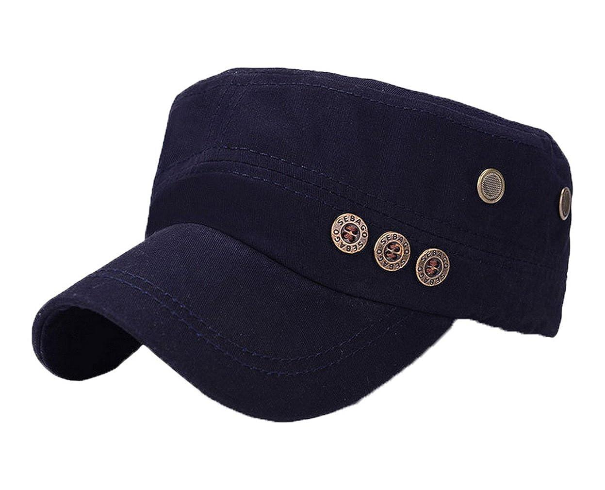 4f37da7dceb Amazon.com  COMVIP Unisex Flat Top Cap Button Plain Adjustable Baseball Cap  Army Green  Clothing