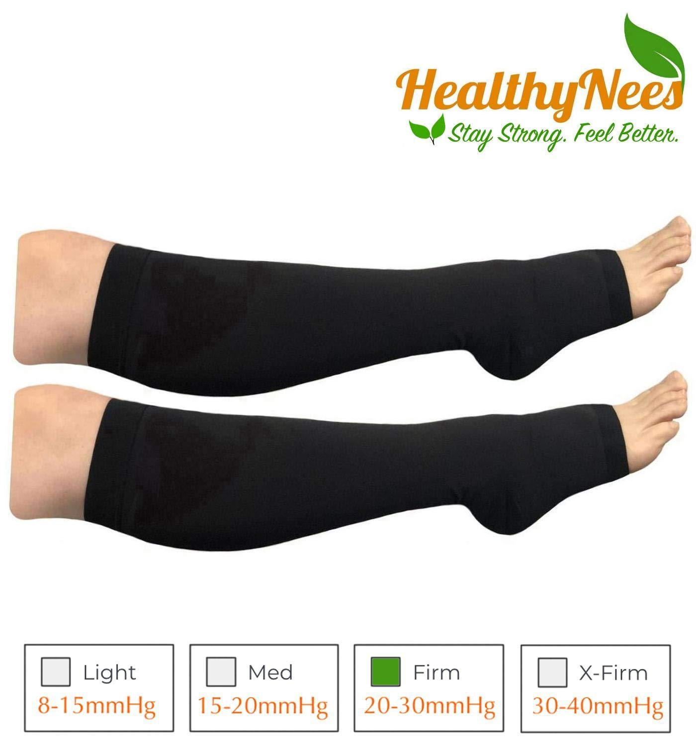 HealthyNees Big Tall Plus Size Wide Calf & Extra Wide 20-30 mmHg Open Toe Medical Compression Leg Swelling Circulation Men Women Socks (Black, Wide Calf 4XL) by HealthyNees