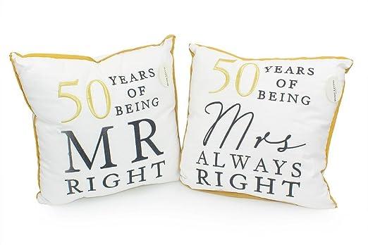 50th Golden aniversario regalo par de señor y señora derecha ...