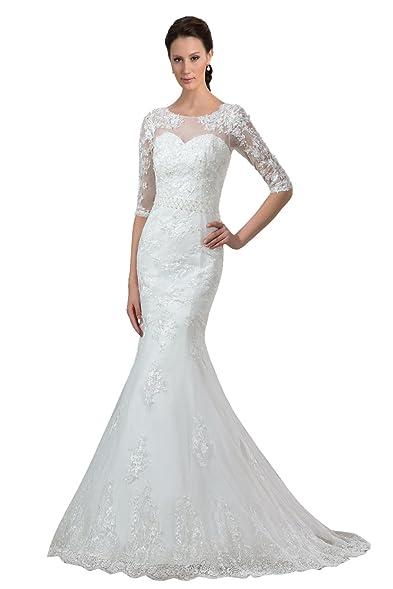 Sisjuly Womens Half Sleeve Lace Mermaid Wedding Dress For Bride US2 Ivory