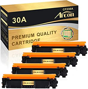 Arcon Compatible Toner Cartridge Replacement for HP 30A 30X CF230A M203dw M227fdw HP Laserjet Pro MFP M203dw M227fdw M227fdn 203dw 227fdw 227fdn HP Laserjet Pro M203d M203dn M227sdn M227 Ink-4Pack