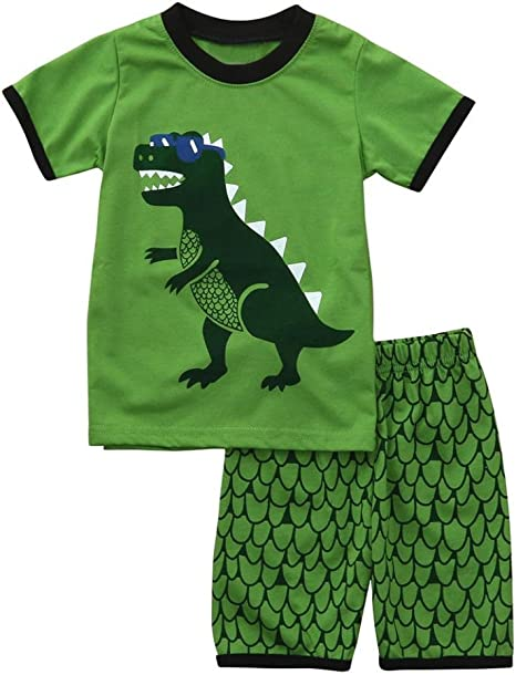 Age: 18-24 Months TM Little Boys Dinosaur Pajamas Sets,Jchen Hot Sales Toddler Kids Boys Short Sleeve Cartoon Dinosaur Tops Shorts Summer Outfit Home Wear Clothes for 1-6 Years Old Boys