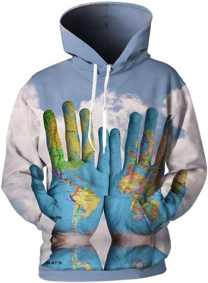 PU Frühling und Herbst 3D Sweatshirts Men 'S Hand Karte der Welt 3D Print Hooded Sweatshirts 3D Sweatshirts Men Cool 3D Pullover Overalls,S S
