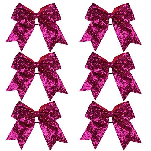 Metallic Sequin and Holographic 8 Inch Cheer Bow Cheerleader Cheerleading Jumbo Cheer Bow Hair Tie (Hot Pink Sequin)