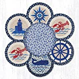Jute Trivets Earth Rugs Tnb-443 Nautical Trivets In A Basket 10'' X 10'' 10 X 1.5 X 10 Inches Multicolored