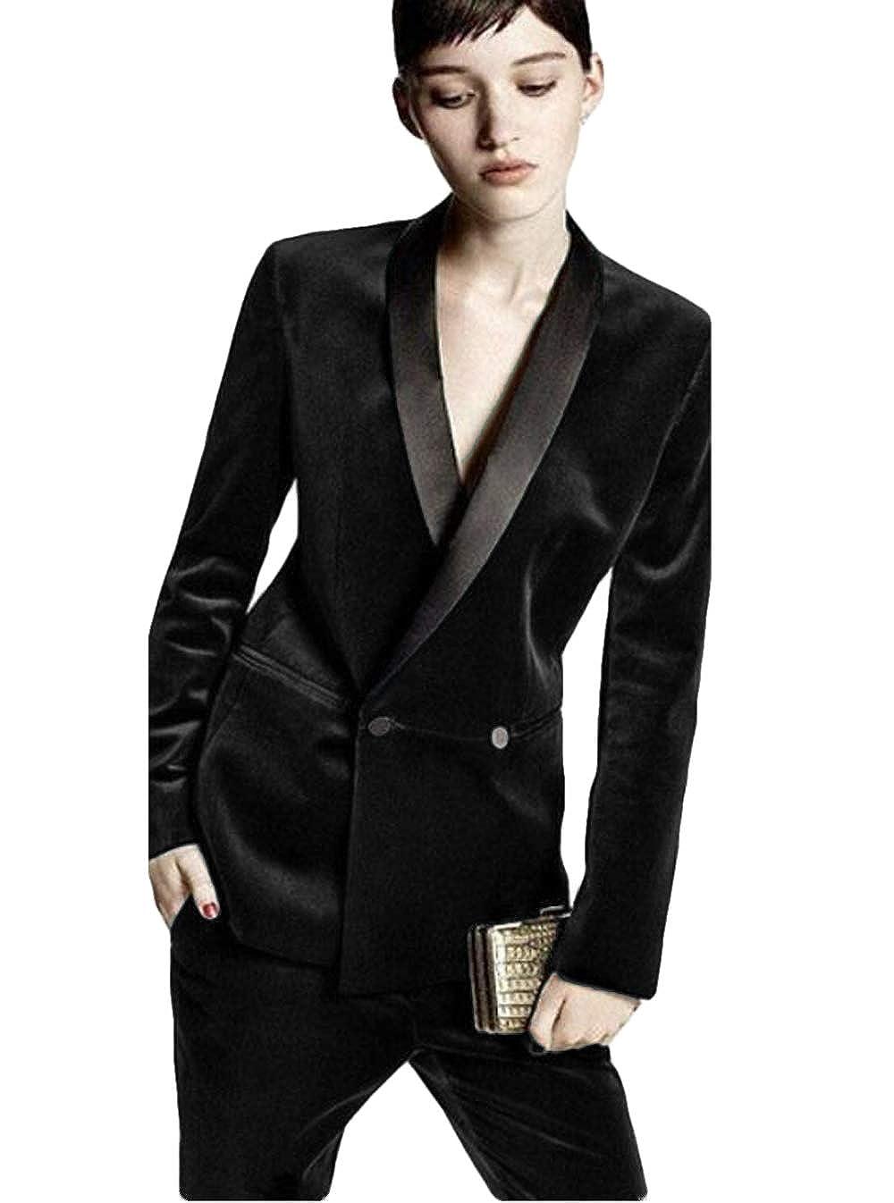 WZW WomensTailored Formal Suits Female Business Suits Velvet Evening Trouser Suit