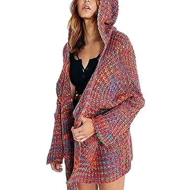 1785fa15035d2 Lazzboy Womens Sweater Jacket Coat Knitted Long Sleeve Chunky Colourful  Loose Pocket Hooded Fashion Jumper Cardigan Oversized  Amazon.co.uk   Clothing