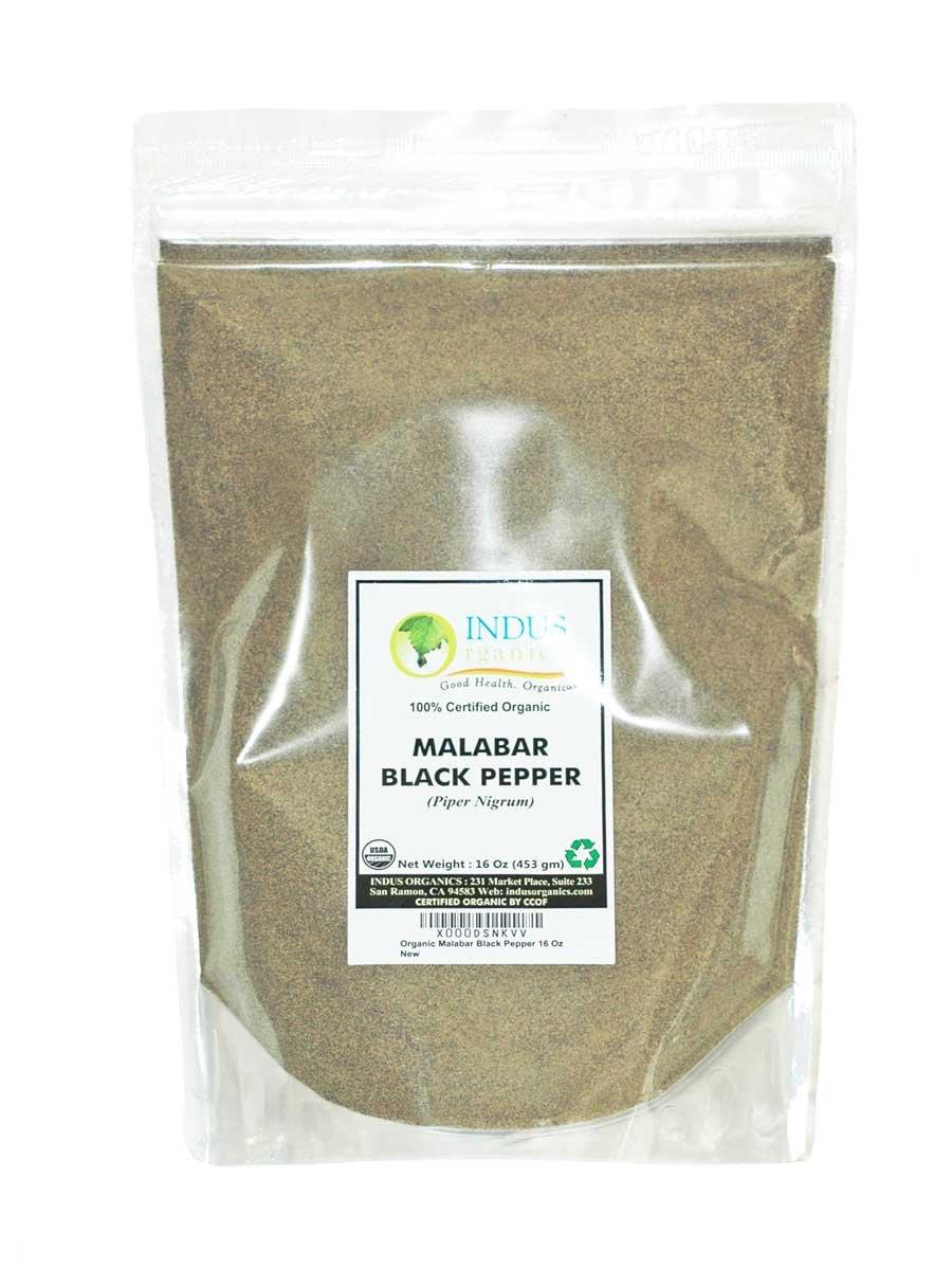 Indus Organics Malabar Black Pepper Powder (Dust, Fine Ground), Refill Bag , 1 Lb, Premium Grade, High Purity, Freshly Packed by Indus Organics