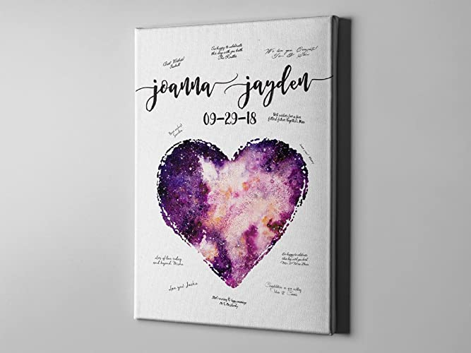 SALE 50 Off Canvas GuestBook Galaxy Heart Love Cute Wedding Signature
