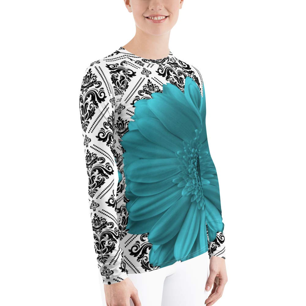 UPF Shirt Sport Shirt Womens Rash Guard Turquoise Flower Turquoise Floral Sun Shirt