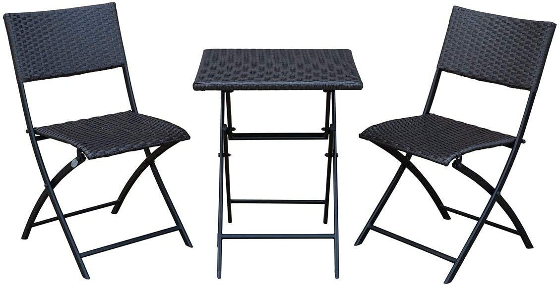 SunLife Bistro Sets, Outdoor Folding Table with Chairs Set, Foldable Patio Bistro Garden Party Bars Cafe Chairs Table Set, Teak
