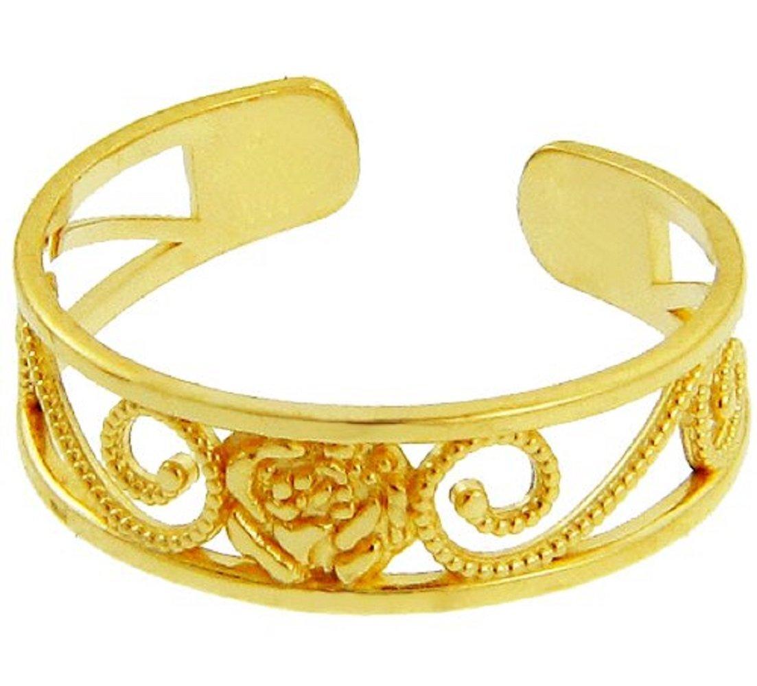 Yellow Gold Rose Toe Ring (10K Gold)