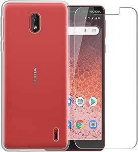 PZEMIN Funda para Nokia 1 Plus Silicona Transparente Suave TPU Anti-Daños Carcasa Case Estuche Caso + Película Protectora para Nokia 1 Plus Cristal Templado Membrana (5.45
