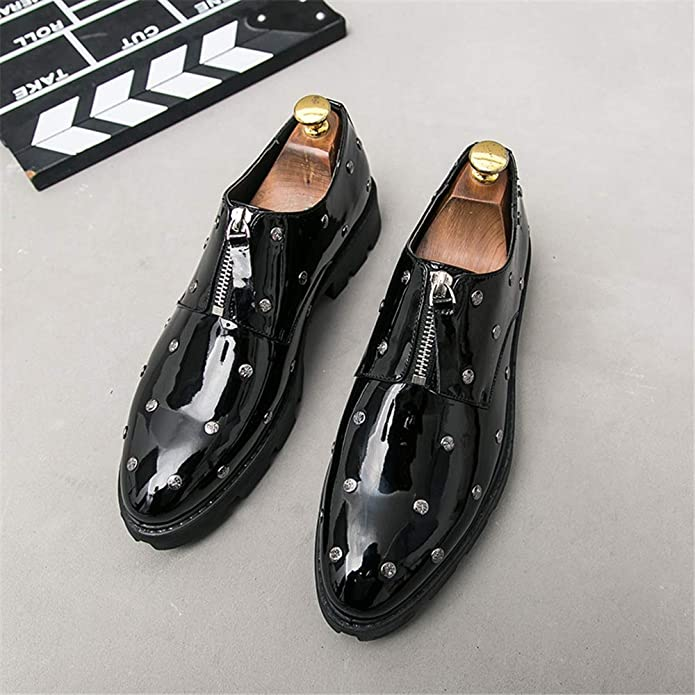 CHENDX Shoes Mens Personality Rivet Thick Bottom Business Oxford Casual Patent Leather Brogue Shoes