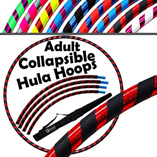 PRO Hula Hoops COLLAPSIBLE (Ultra-Grip/Glitter Deco) TRAVEL Hula Hoop + Bag! (100cm/39) Hoola Hoops For Exercise, Dance & Fitness! (700g/29.6oz) NO Instructions Needed (Black/Red Glitter)