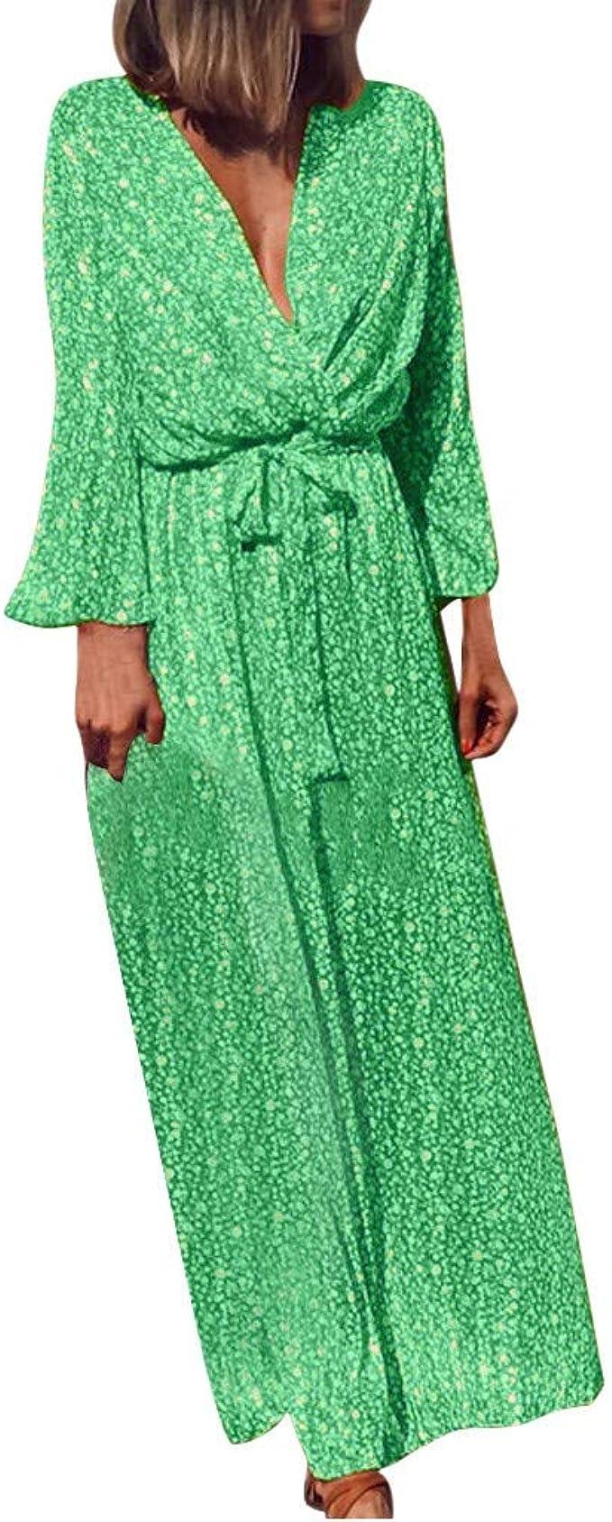 TEFIIR - Vestido con falda de flores, falda larga, cruz, cuello en ...