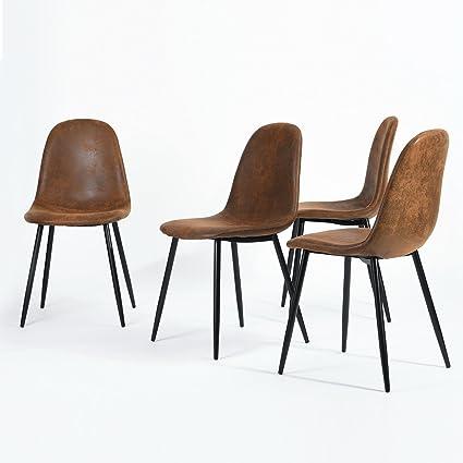 Confezione da 4 sedie scandinavo vintage sedie da cucina in pelle  scamosciata marrone