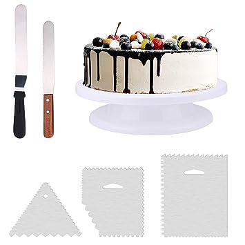 THETIS Homes Tortenplatte Drehbar Ø 28CM, Tortenständer Kuchenplate Drehteller Tortenplatte Weiß mit 2 Winkelpalette und 3 Ic