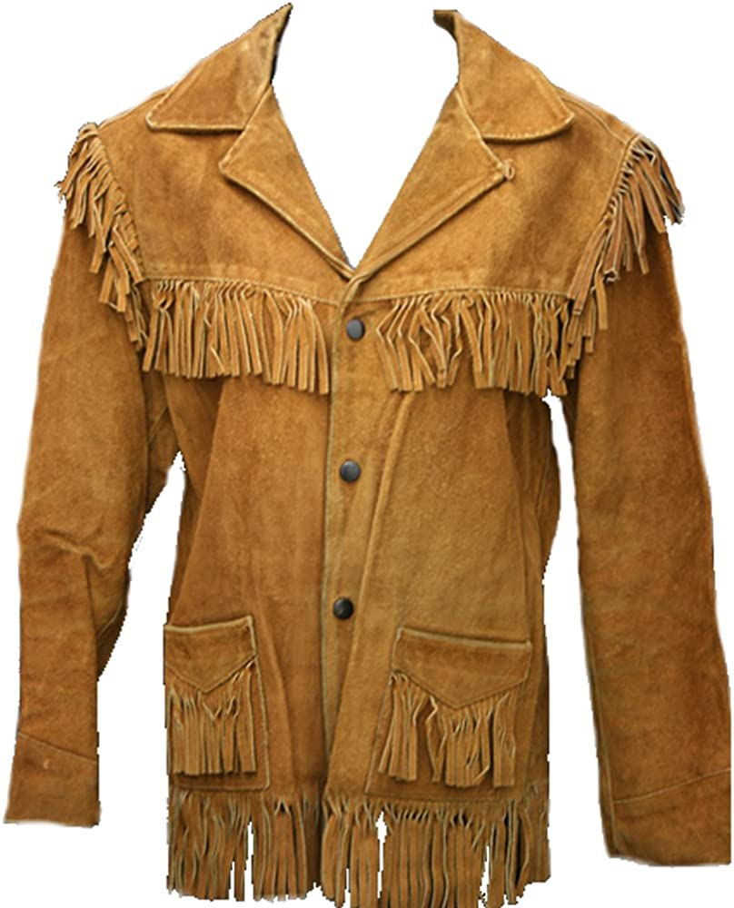 60s 70s Men's Jackets & Sweaters Classyak Western Style Leather Jacket Fringes on Sleves Front & Back Xs-5xl $239.90 AT vintagedancer.com