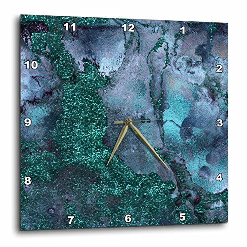 3dRose Luxury Malachite Ombre Gem Stone Marble Glitter Metallic Faux Print Wall Clock, 13 x (Gemstone Clock)