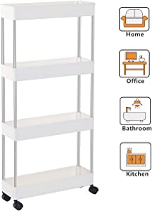 EXILOT 4 Tier Slim Storage Cart Narrow Shelving Unit Organizer Slide Out Storage Rolling Utility Cart Tower Rack for Kitchen Bathroom Laundry Narrow Places,White