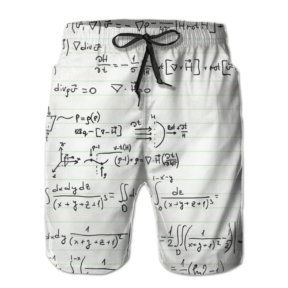 SARA NELL Mens Swim Trunks Pattern with Mathematical Formulas White Surfing Beach Board Shorts Swimwear