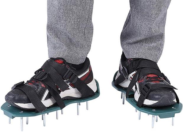 TOPINCN 1 par de Sandalias de aireador de césped Calzador de aflojamiento del Suelo Zapatos con púas Jardín Zapatos Sueltos Herramienta de jardinería para Jardines Verdes Espigas (3 Correas): Amazon.es: Hogar