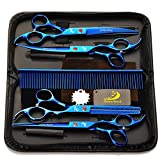 "5 in 1 Pet Dog Cat Grooming Scissors, SymbolLife 7"" Professional Pet Hair Grooming Cutting Curved Thinning Shears Set with Trimming Comb and Clean Cloth(Blue)"