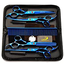 5 in 1 Pet Dog Cat Grooming Scissors, SymbolLife 7 Professional Pet Hair Grooming Cutting Curved Thinning Shears Set with Trimming Comb and Clean Cloth(Blue)