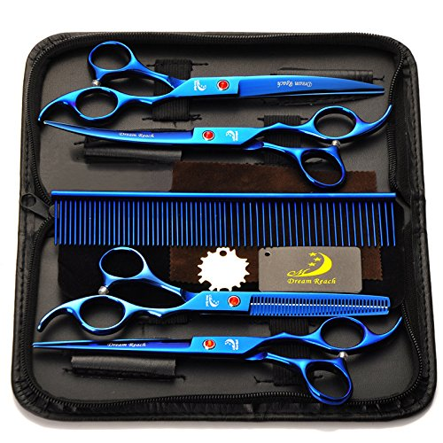 5 in 1 Pet Dog Cat Grooming Scissors, SymbolLife 7  Professional Pet Hair Grooming Cutting Curved Thinning Shears Set with Trimming Comb and Clean Cloth(bluee)
