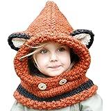 Rosepoemスカーフハットベビーニット - ベビーキッズ暖かい冬の帽子かぎ針編みニットキャップフードスカーフビーニー