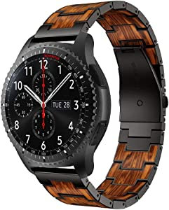 RABUZI Compatible for Samsung Galaxy Watch 45mm 46mm Bands,22mm Stainless Steel Metal Inlaid with Natural Red Sandalwood Watch Strap Compatible Samsung Watch 3 45mm,Gear S3 Frontier/Classic (Black)
