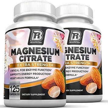 Magnesium Citrate - 125 Count 500 mg per Veggie Capsules - 2-Pack